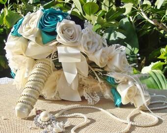 Teal teardrop bouquet,Cascading bridal bouquet wedding teardrop, lace pearl  brooch vintage, butterfly Bouquet