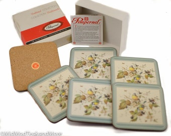 Vintage Coasters De Luxe by Pimpernel  Birds and Berries Made in England