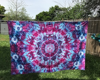 Mandala Star design Ice dyed tie dye tapestry.