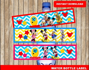 Mickey Mouse water bottle labels; printable Mickey Mouse Clubhouse  water, Minnie Mouse party water bottle instant download