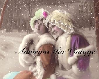 Digital download printable postcard, vintage postcard, Christmas postcard, 1919, vintage art