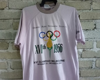 Rare!! ADIDAS Olympic centennial collection t-shirt spell out embroidery Olympic Games light purple colour small size
