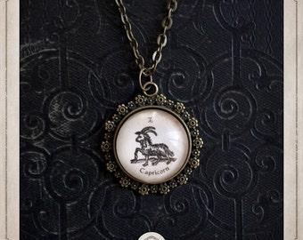 Zodiac sign CAPRICORN capricorn necklace pendant bronze and glass cabochon 20mm, astrology, clairvoyance, destiny, COC026