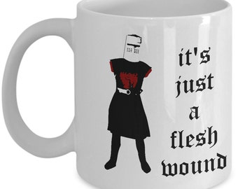 Monty Python Coffee Mug - Holy Grail - Black Knight - It's Just a Flesh Wound