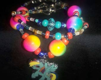 3 in 1 beaded My Little Pony charm bracelet