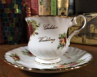 Golden Wedding Cup and Saucer, English Garden Fine Bone China , Elizabethan Cup and Saucer, Anniversary Cup and Saucer, Fine Bone China
