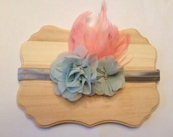 Flower and feather headband, flower headband, feather headband, flower and feathers, elastic headband