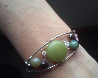 Silver wire Cuff bracelet with various beads