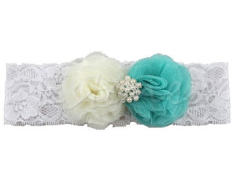Beautiful Ivory and Torquoise Flower Headband, Lace Hair Band, Headwear For Baby Girl, Toddler Baby Show Photo prop