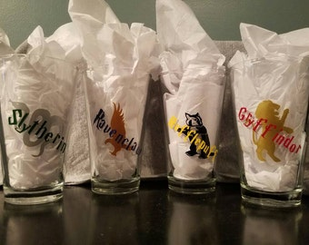 Harry Potter house inspired drinking glasses