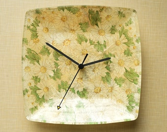 Wall clock, decoupage on glass
