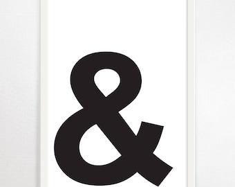 Ampersand, Typography, Minimalist Art, Typography Art Print, Modern Wall Art, Monochrome, Black and White, Poster, Graphic Design, Art Print
