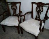 Pair of Vintage Chippendale Style Arm Chairs Newly Upholstered In White Velvet