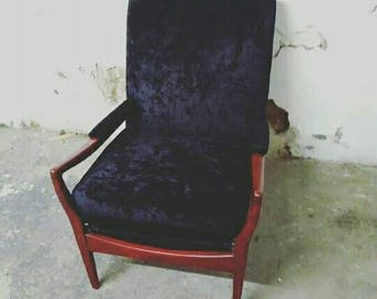 70s Vintage Ercoll arm chair Newly upholstered in a black crushed velvet