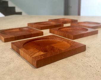 Set of 6 Dansk Denmark Staved Teak Coasters Jens Quistgaard