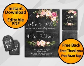 Baby Shower Invitation Instant Download -SALE 60% OFF-Watercolor Chalkboard Editable -It's a Girl -Free Back -Free Thanks -Free tags X002c3