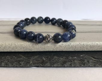 Yoga bracelet for women, sodalite gemstone bracelet, stone bead bracelet gift, Blue stone healing bracelet, meditation gift idea, confidence