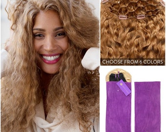 Curly Clip In Volumizer Hairpiece (colored), 100% Remy Human Hair Extensions