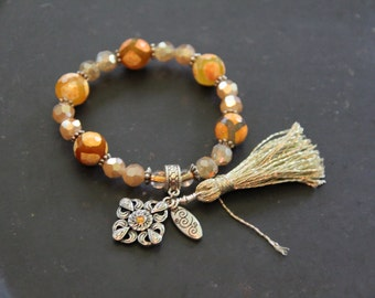 Bracelet with citrine charm and silver tassel