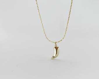 Tiny Shark Tooth Pendant, Gold Horn Necklace, Gold Tusk Necklace