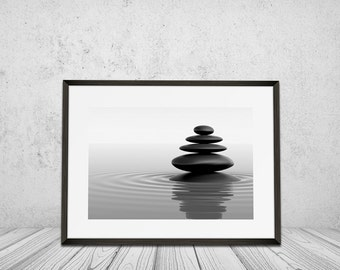 Spa, Bath and Relaxation, Wall Art Print, Health spa, Beauty Health, Black and White, Balance, Stone, Beauty and Nature, Digital Download