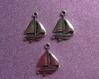 3 Antique Tibetan Silver Sailboat Charms