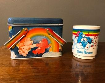 Vintage Care Bears metal Tin and Mug 1983