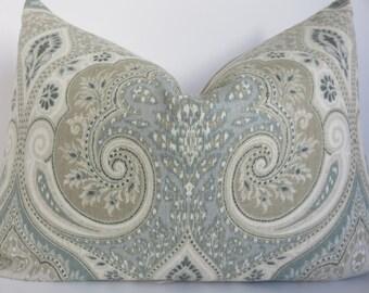 Aqua latika pillow cover, Kravet pillow cover, Pillow cover, Paisley Pillow Cover, Light Blue Pillow, Tan Pillow cover