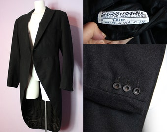 Sale /// Vintage 1963 Dated Bespoke SERRANO & CARRENO Madric Dark Grey Tailcoat Uk/Us 42