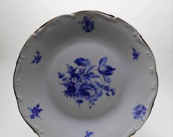 Vintage French Procelaine De Sologne - Larcheveque -  Plates - Blue and White Floral Design
