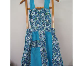 Vintage Blue Plain and Floral Panelled Apron with Pocket