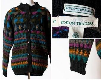 Women's Wool Sweater - Boston Traders 80s L Retro Large Long Sleeve Hand Knit