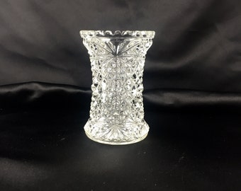 Sawtooth edge toothpick holder. Pressed glass.