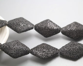 Natural Black Rhombus Shape Lava Beads,Volcanic Rock Beads,Natural and Untreated Beads,Approx 34x24mm,15 inches one starand