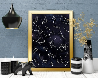 Star Map Poster, Star Chart, Constellation Poster, Galaxy Print, Nebula Print, Art Print, Galaxy Art Print, Wall Decor