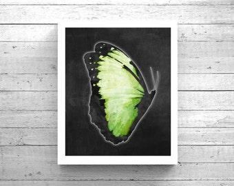 Green Butterfly Art - Printable Butterfly, 3D Butterfly Art, Butterfly Painting, Butterfly Poster, Verde Mariposa Arte, Butterfly Wall Art