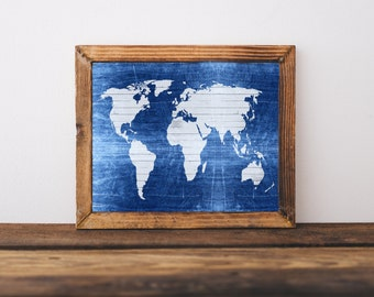 Blue World Map Print - Printable World Map, Modern World Map, Distressed Wood World Map, World Map Poster, Wooden Map, Digital World Map