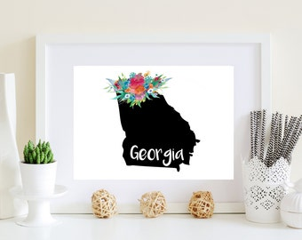 Black Georgia art, black ga art, ga art print, floral ga art, ga artwork, georgia printable, georgia art, printable ga art, georgia print