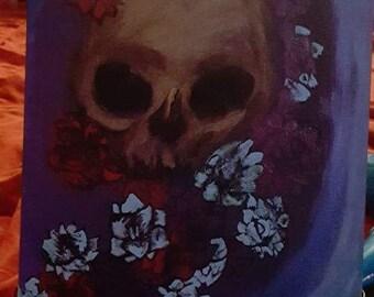 Gothic Skull Original Painting 11X14