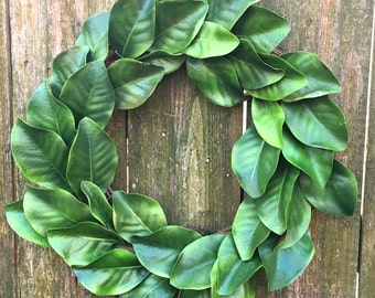 Magnolia Wreath-Farmhouse Wreath-Front Door Wreath-Magnolia Leaf Wreath-Spring Decor-Everyday Wreath-Spring Wreath-Year Round Wreath-Wreath