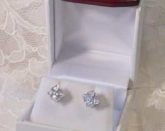 Cubic Zircon Princess Earrings