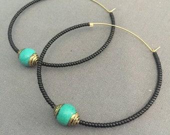 sasha - beaded and brass hoop earrings