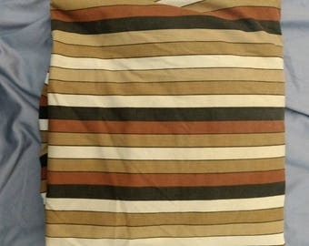 Vera Neumann design for Burlington brand brown striped twin fitted bottom sheet