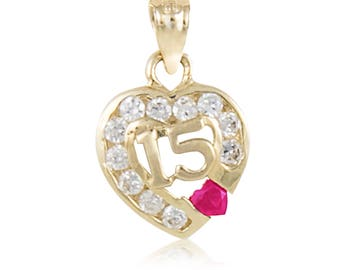 14K Solid Yellow Gold Cubic Zirconia Heart Sweet 15 Pendant - Love Quinceanera Anos Birthday Necklace Charm Women's