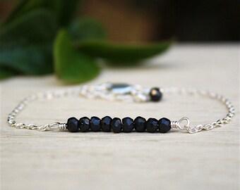 massive black spinels gems stones faceted on silver chain bracelet