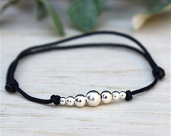 String to choose solid silver degraded round beads 925 bracelet