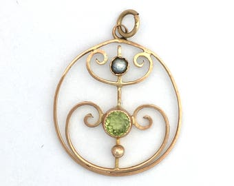 Antique 9CT Rose Gold Peridot and Seed Pearl Pendant