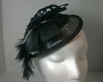 Black Fascinator, Black and White Ostrich Dyed Drab Feathers, Sinamay bow