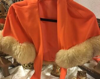 Orange fur cape