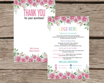 Thank You Card, Personalization, Home Office Approved, Fashion Retailer, Return/Care/Policy, Post Card, Instruction Return Exchange LLR027
